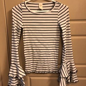 Free people striped bell sleeves top